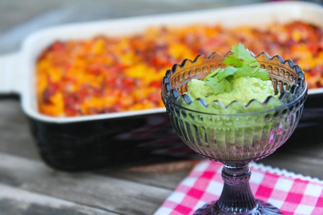 Mexíkóskt lasagna með avokadó-salsa