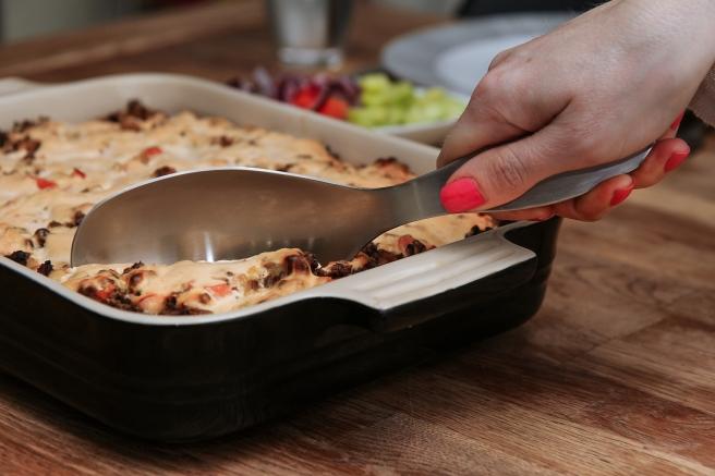 Tacogratín með pastabotni