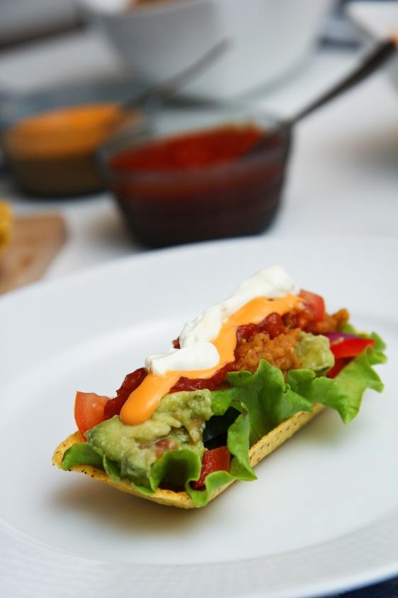 Tacos með rauðum linsubaunum